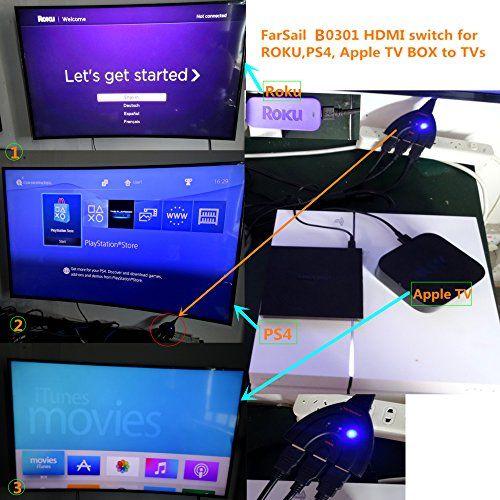 photo Wallpaper of FarSail-FarSail Hdmi Switch 3 In 1 Out, Automatisch Hdmi Umschalter 3 Auf 1 Automatisch-white