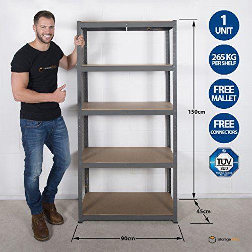 photo Wallpaper of Storage Affairs-Garagen Regaleinheit, 5 Etagen, Extra Robust–90cm Breit, 45cm Tief, 150cm Hoch,-Grau