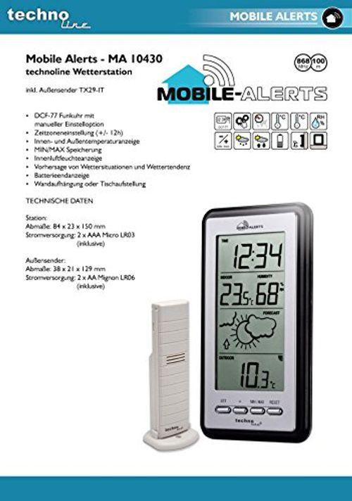 photo Wallpaper of Technoline-Technoline Smart Home Wetterstatation, Mobile Alerts, Silber/grau, 8.2x2.3x15 Cm, MA10430-silber-grau