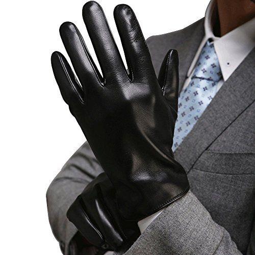 photo Wallpaper of Harrms-Harrms Herren Winter Handschuhe Aus Echtem Leder Touch Screen Gefüttert Aus Kaschmir Lederhandschuhe,mit-Schwarz