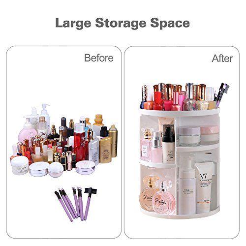 photo Wallpaper of PDR-Multifunktionaler Make Up Organizer Mit 7 Verstellbaren Ablageflächen, 360Grad Drehbare Aufbewahrungsbox-weiß