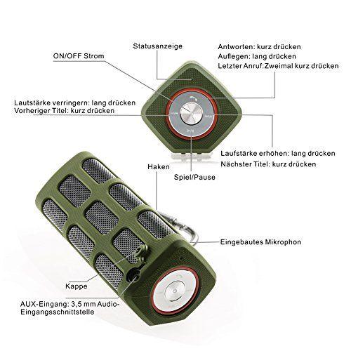 photos of Hapyia Tragbarer Drahtloser Bluetooth Lautsprecher, 1 Paar Lautsprecher Für 3D Stereo Surround Sound System [Neuerscheinung]   1 Lautsprecher (Armee Grün) Pro Cons Kaufen   model Speakers