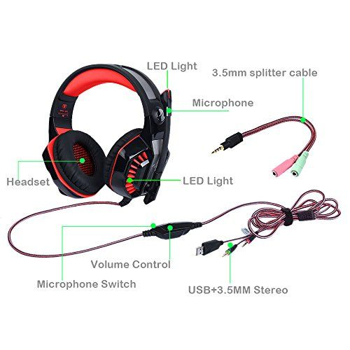 photo Wallpaper of Butfulake-AooLife Gaming Headset Für PS4, Xbox One, Für Computer, Laptop, Tablet, Smartphone, Stereo-GM-2-red