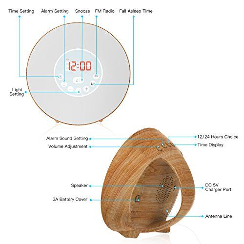 photo Wallpaper of COULAX-COULAX Wake Up Light, Despertador Luz Amanecer Función De Dormitar, 6 Sonidos Naturales-Grano de Madera