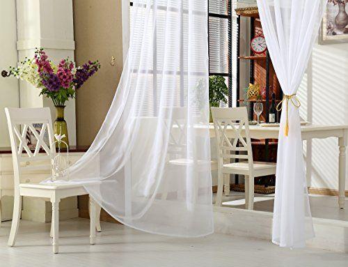photo Wallpaper of WOLTU-WOLTU VH5513ws 2, 2er Set Gardinen Vorhänge Transparent Mit Ösen-Weiß