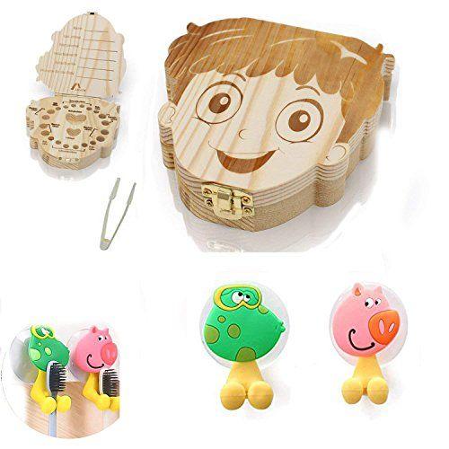 photo Wallpaper of BUWANT-BUWANT Zahndosen Milchzähne Box Und 2 Stück Cartoon Tiere Zahnbürstenhalter Mit Saugnapf-