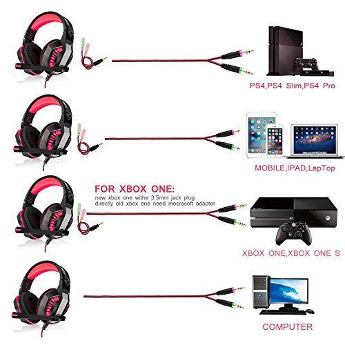 photo Wallpaper of PECHAM-Xbox Ein PS4 Kopfhörern Gaming Kopfhörer Headset Kopflautsprecher Mit Mikrofon Surround Sound-Rot