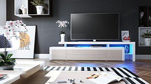 photo Wallpaper of Vladon-TV Board Lowboard Leon V3, Korpus Und Überbau In Weiß Hochglanz / Front-Sandgrau Hochglanz / Weiß Hochglanz