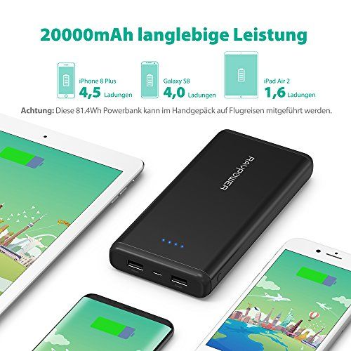photo Wallpaper of RAVPower-Powerbank RAVPower 20000mAh Externer Akku Battery Pack 2 Port ISmart-Schwarz
