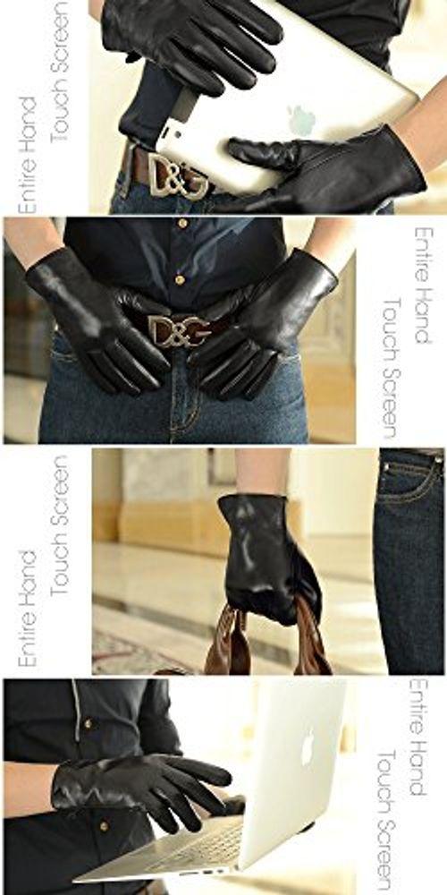 photo Wallpaper of Harrms-Harrms Herren Winter Handschuhe Aus Echtem Leder Touch Screen Gefüttert Aus-Schwarz