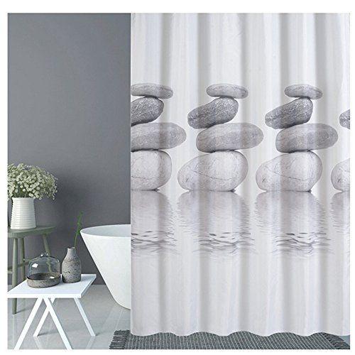 photo Wallpaper of Goldbeing-Goldbeing Duschvorhang 120x180 Textil Grau Pebble Schimmelresistenter Und Wasserabweisend Shower-