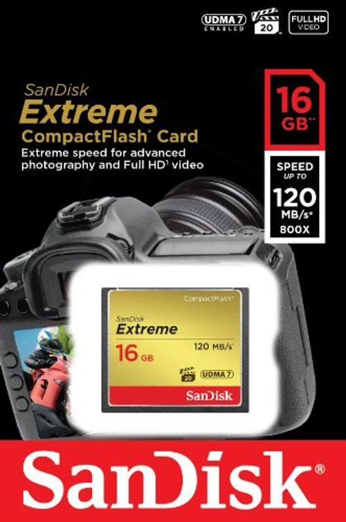 photo Wallpaper of SanDisk-SanDisk Extreme 16GB CompactFlash UDMA7 Speicherkarte Bis Zu 120MB/s Lesen-Gold