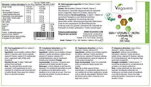 photo Wallpaper of Vegavero-HIERRO + VITAMINA C + BIOTINA + VITAMINA B12 | 365 Comprimidos-