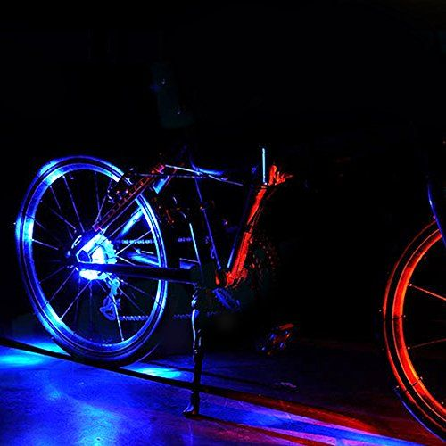 photo Wallpaper of Fozela-Fahrrad Rad Lichter, Fozela Wasserdichte Fahrradlichter Speichenlicht LED Fahrrad Lichter Licht-Blue