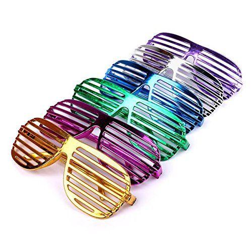 photo Wallpaper of Schramm Onlinehandel-S/O 6er Pack Partybrille Metallic 6 Farben Partybrillen Bunt Gitterbrille Spaß Spass Brille Atzen-