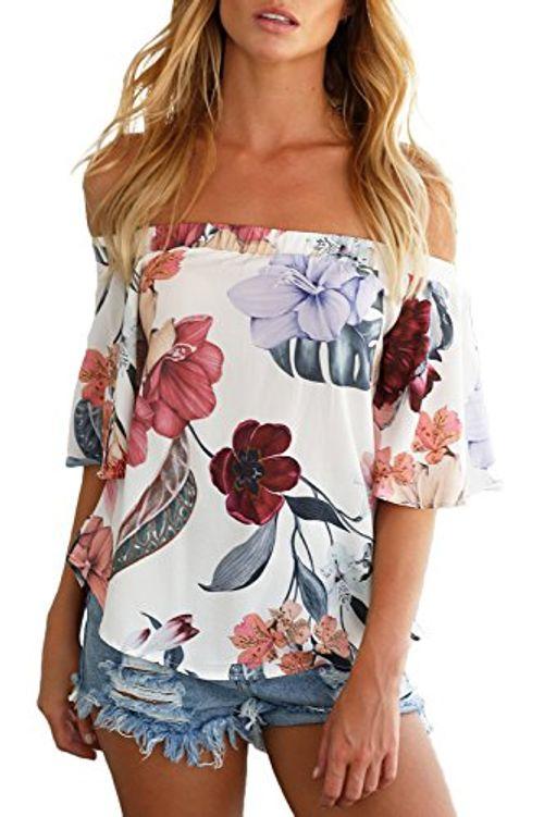 photo Wallpaper of YOINS-YOINS Damen Kurzarm Bluse Schulterfrei Blumenmuster Kurze Ärmel Tops Oberteil Shirt-01
