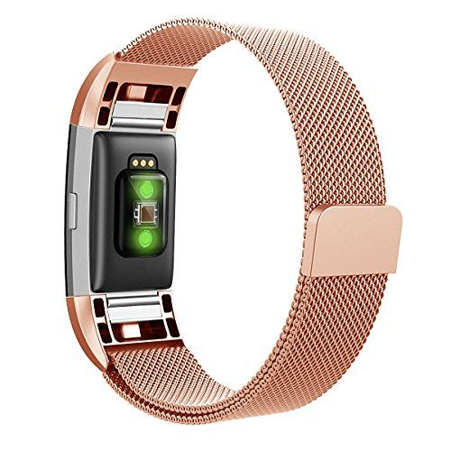 photo Wallpaper of Hanlesi-Hanlesi Fitbit Charge 2 Armband, Edelstahl Armbanduhren Watch Band Fitness Für Fitbit Charge-silber + roségold
