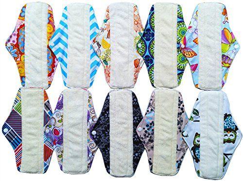 photo Wallpaper of unbranded-10pcs 10pulgadas Gamuza De Bambú Reutilizable Lavable Almohadillas De Menstrual Compresa + 1pc Mini-