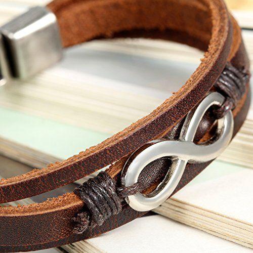 photo Wallpaper of Flongo-Flongo 2 Stück Leder Echtleder Armband Armreifen Lederarmband Kordelkette Schwarz Braun Silber-