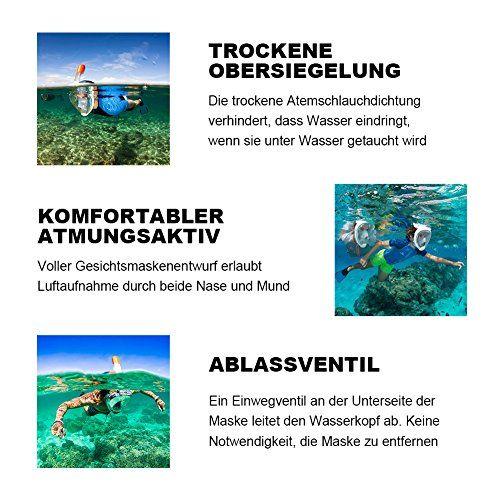 photo Wallpaper of roadwi-Roadwi Schnorchelmaske Vollmaske 180 Grad Blickfeld Tauchmaske Anti Beschlag Schutz Kompatibel-Grau