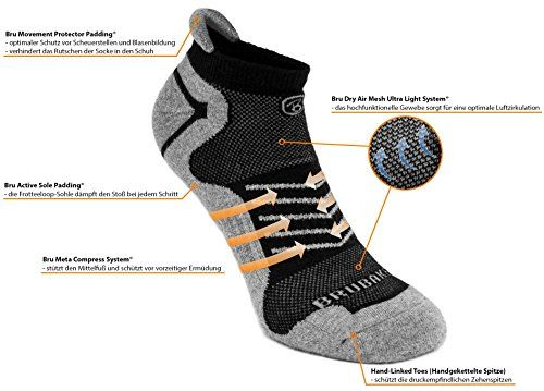 photo Wallpaper of Brubaker-Brubaker 6er Pack Sneaker Funktionssocken Mit Weicher Fersenlasche Für Sport, Running, Mountainbiking-Schwarz mit Logo in weiß
