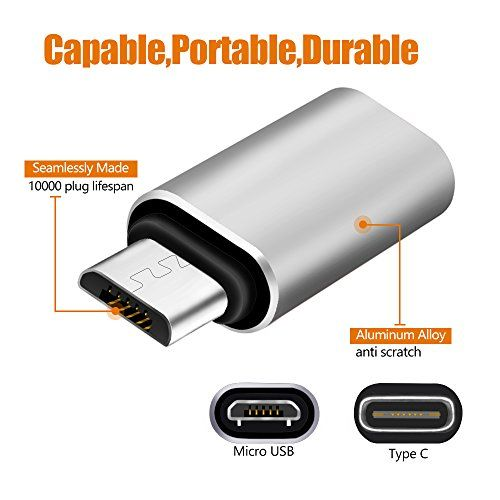 photo Wallpaper of astarye-USB C FeMale To Micro USB Männliche Adapter Astarye 2 Pack Portable Data Sync-silver