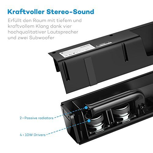 photo Wallpaper of TaoTronics-Soundbar Bluetooth Lautsprecher TaoTronics, 2.0 Kanal, 2 Kabellose Subwoofer, 40W-schwarz