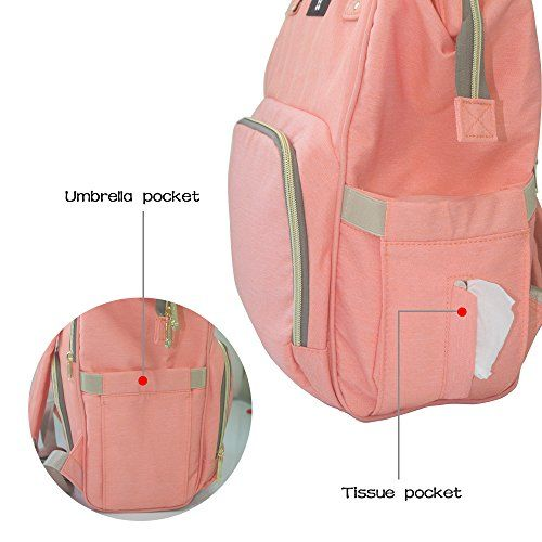 photo Wallpaper of WeTong-Mochila De Pañales Y Biberones Para Mamá, WeTong Multifunción Impermeable Durable Bolsos-Naranja-Rosa