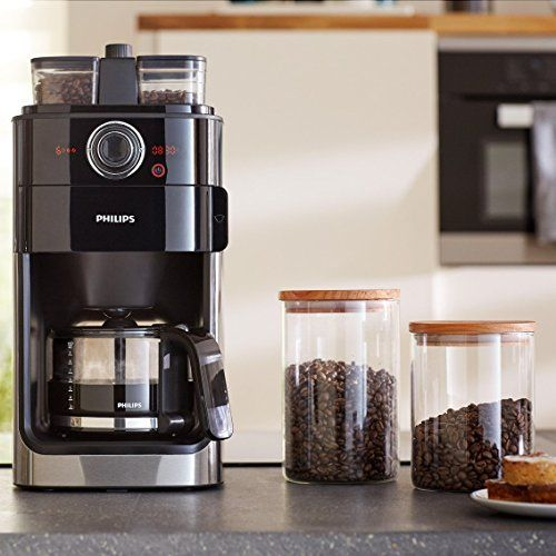 photo Wallpaper of Philips-Philips Grind Und Brew HD7769/00 Filterkaffeemaschine (mit Mahlwerk, Timer, Doppeltes Bohnenfach) Edelstahl/schwarz-Edelstahl/ Schwarz