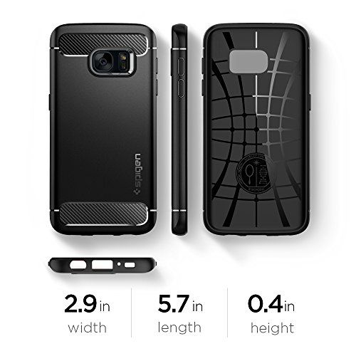 photo Wallpaper of Spigen-Samsung Galaxy S7 Hülle, Spigen® [Rugged Armor] Elastisch [Schwarz] Ultimative Schutz Vor-Einfarbig