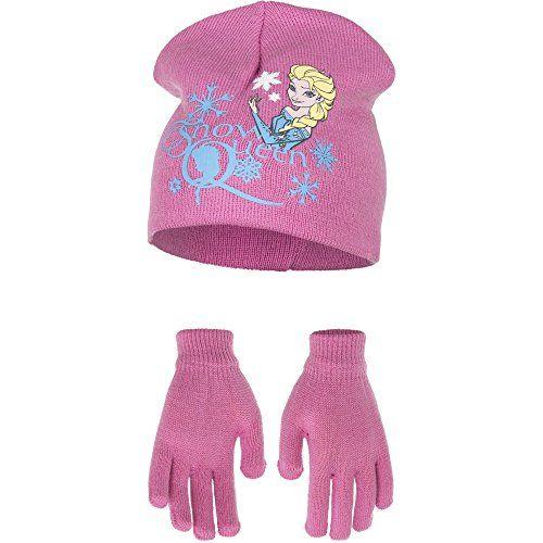 photo Wallpaper of Palleon-Die Eiskönigin Frozen Mädchen Kinder Winter Mütze Und Handschuhe Set-Rosa