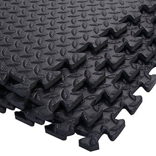 photo Wallpaper of COSTWAY-12 Stück Schutzmatten Set Bodenschutzmatte Puzzlematte Unterlegmatte Fitnessmatte Gymnastikmatte Matte Für Bodenschutz (Schwarz)-Schwarz