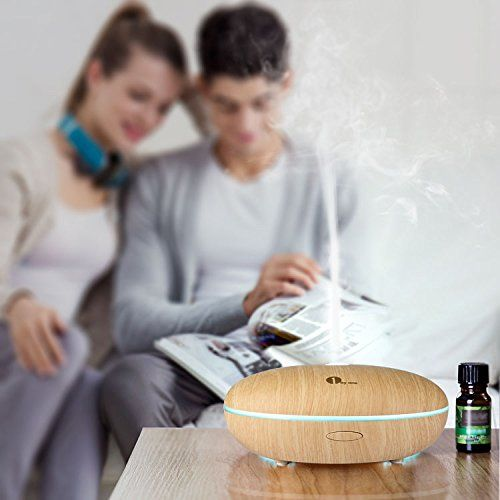 photo Wallpaper of 1Byone-1byone Difusor De Aroma, Humidificador Ultrasónico Con Luz LED De Colores,-Grano de Madera