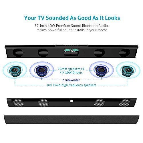 photo Wallpaper of meidong-Soundbar (neue Version) Bluetooth Lautsprecher Meidong 2.1 Kanal 2 Subwoofer-Black