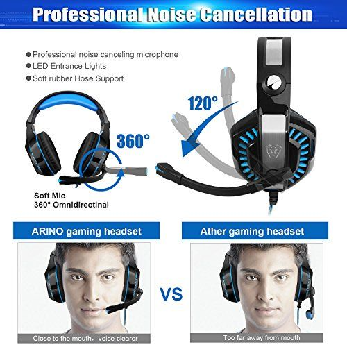 photo Wallpaper of ARINO-ARINO GM 2 Gaming Headset Over Ear Kopfhörer Mit LED Licht Und-Blau