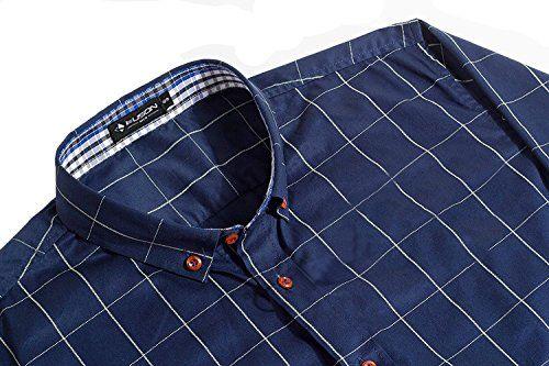 photo Wallpaper of Kuson-Kuson Herren Hemd Kariert Kentkragen Langarm Shirts Regular Fit Trachtenhemd Businesshemd-Navyblau