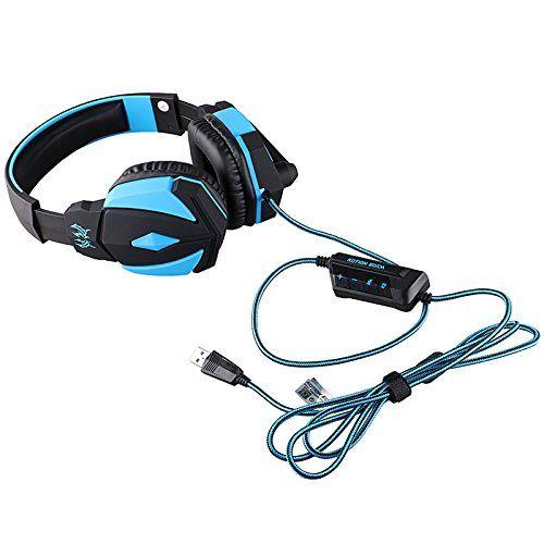 photo Wallpaper of edealing-Edealing USB Tiefe Bass Stereospiel Kopfhörer Kopfhörer Stirnband Mit Mikrofon LED Licht Für-Blue