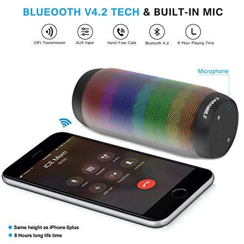 photo Wallpaper of EARAMBLE-Earamble LED Bluetooth Lautsprecher,10Watt, Portabel, Bluetooth 4.2, Hifi Stereo Sound, Wasser Spritzwassergeschützt,-schwarz