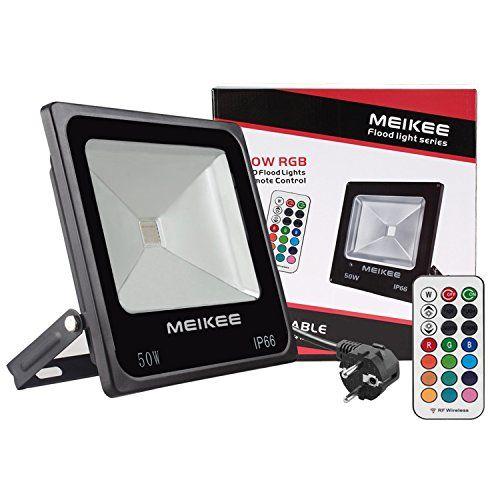 photo Wallpaper of MEIKEE-MEIKEE 50W RGB Strahler Mit Fernbedienung, 4 Modi 16 Farben,-