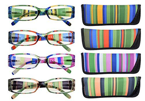 photo Wallpaper of Eyekepper-Eyekepper Gafas De Lectura De Patas Rayadas Con Bisagra De Resorte De 4 Pares-Stripe Mix