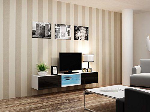 photo Wallpaper of Jadella-TV Board Migo Glas 180cm X 40cm X 30cm , Farbe:weiß Matt-Weiß Matt / Schwarz Hochglanz