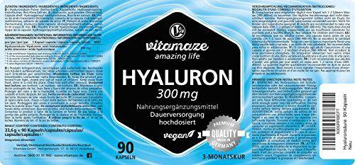 photo Wallpaper of Vitamaze - amazing life-Ácido Hialurónico Altamente Concentrado, 300 Mg Por Cápsula VEGANA, Envase Para 3 Meses,-