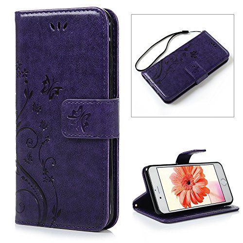 photo Wallpaper of YOKIRIN-IPhone 6 / 6S Hülle (4,7 Zoll) Wallet Case Flip Hülle YOKIRIN Schmetterling Blumen-Lila