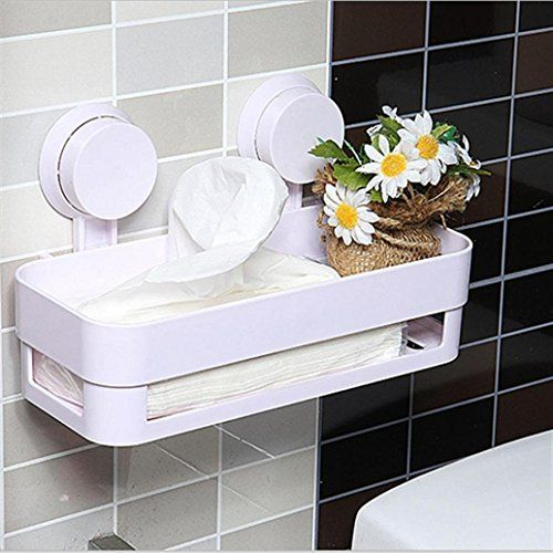 photo Wallpaper of Itian-Itian Badezimmer Wasserdicht Saugnapf Regal, Lagerregale , Küchenregale (Weiß)-Weiß