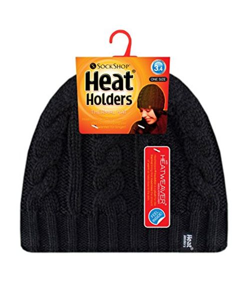 photo Wallpaper of Heat Holders-Heat Holders   Damen Bunt Muster Strickmütze Warm Wintermütze-Schwarz