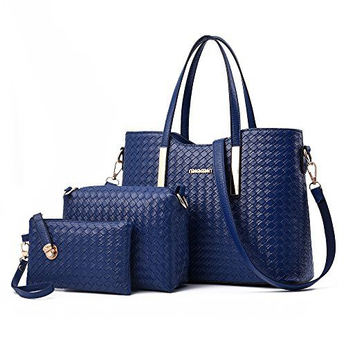 photo Wallpaper of Sunroyal-Damen Handtasche, Mode PU Lackleder Tasche Mit Alligator Muster, 3-Blau
