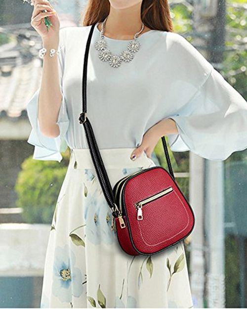 photo Wallpaper of QitunC-Damen Pu Ledertasche Handy Paket Umhängetasche Farbmischung Multi Tasche Schultertasche-Rot