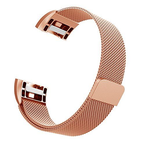 photo Wallpaper of Hanlesi-Hanlesi Fitbit Charge 2 Armband, Edelstahl Armbanduhren Watch Band Fitness Für-silber + roségold