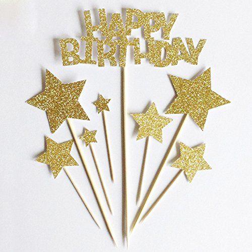 photo Wallpaper of LQZ(TM)-LQZ(TM) Happy Birthday Cake Toppers Stern Tortenstecker Kuchendeko Tortendeko Baby Hochzeit Geburtstag Glitter Gold-