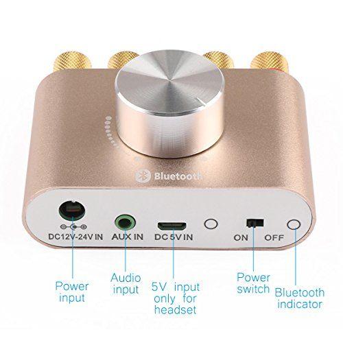 photo Wallpaper of DROK-DROK® Mini Stereo Audio Drahtlose Bluetooth Verstärker Digital Signal Endstufe-gold